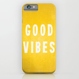 Sunny Yellow and White Distressed Effect Good Vibes iPhone Case