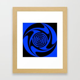 Blue and Black Geometric Swirl Framed Art Print