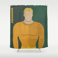 aquaman Shower Curtains featuring Aquaman by Loud & Quiet