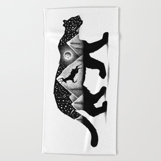 THE MOUNTAIN LION AND THE DEER Beach Towel