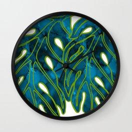 Blue & Green Mix Lau Ulu Leaf Wall Clock