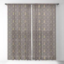 Louis Pitbull Luxury Dog Bling Pattern Sheer Curtain