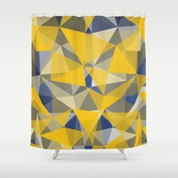 yellow pattern Shower Curtains featuring Yellow by jbjart
