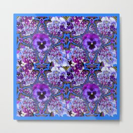 BLUE GEOMETRIC LILAC PURPLE PANSIES GARDEN ART Metal Print