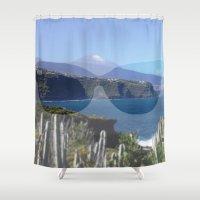 sunglasses Shower Curtains featuring sunglasses, teneriffa by MehrFarbeimLeben