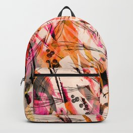 Watercolor vintage seamless background, paint splash, texture of leaves, grasses, plants, cranberry, currants. Abstract background, red, black, white paint splash. Fashionable pattern Backpack