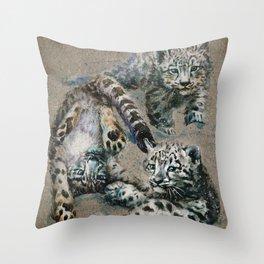 Snow leopard 2 background Throw Pillow