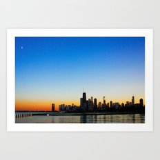 Sunset over Chicago Art Print