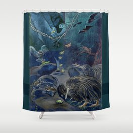 Kiwi, Bats, Morepork and More Shower Curtain