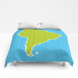 South America map blue ocean and green continent. Vector illustration Comforters