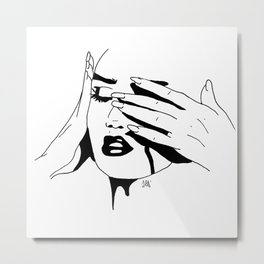 Why are you crying? There's something in my eye. Metal Print