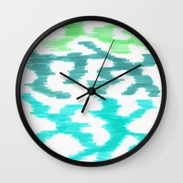 Bold Graphic Colorful Abstract Art Minimalist Tribal Pattern Mid Century Modern PASTEL Greens Wall Clock