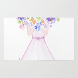 GIRL HOLDING BOUQUET OF FLOWERS / THANK YOU / CONGRATULATIONS / BIRTHDAY Rug