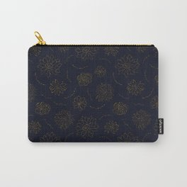 Elegant blush chic navy blue faux gold glitter floral Carry-All Pouch