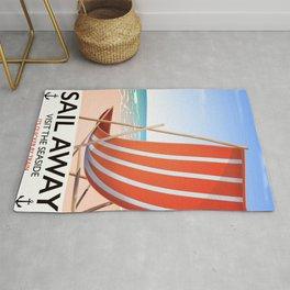 Sail Away Deckchair travel poster Rug