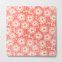 Flower Bouquets Coral and Beige 223 Metal Print