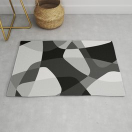 Mid Century Modern Abstract Rock Layers Charcoal Rug
