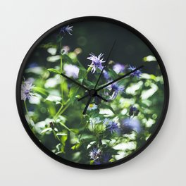 Purple wild flowers Wall Clock