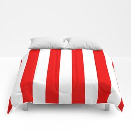 Holidaze Stripe Red White Vertical Comforters