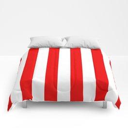 Holidaze Stripe Red White Vertical Comforters