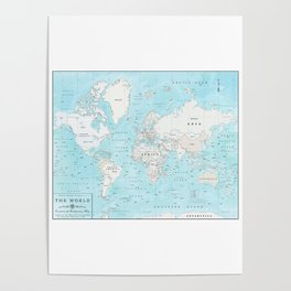 World's Oceans Bathymetry Map Poster