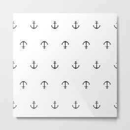 Many stamped black anchors Metal Print