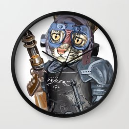 Naughty Pilot Cat with Laser Gun and Heavy Armor Wall Clock