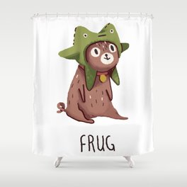 Pug in a frog costume.. Frug. Shower Curtain