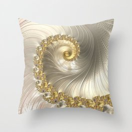 Gold and Pearl Fractal Swirl Throw Pillow