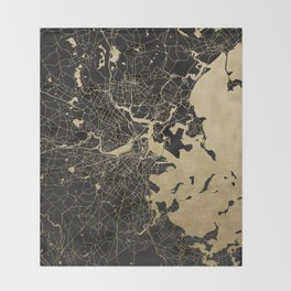Boston Gold and Black Invert Throw Blanket