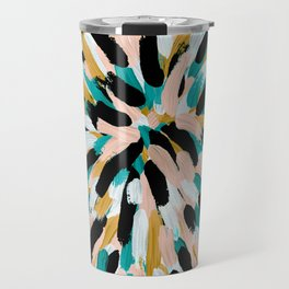 Teal, Pink, and Gold Paint Burst Travel Mug