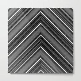 Modern Diagonal Chevron Stripes in Shades of Black White and Grey Metal Print