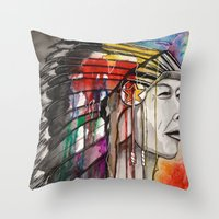 native american Throw Pillows featuring Native American by Hannah Brownfield Camacho