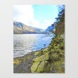 Little Tree at Buttermere, Lake District, England Watercolour Painting Canvas Print