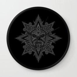 Ancient Gray and Black Aztec Sun Mask Wall Clock