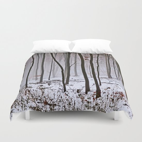 Foggy forest in winter Duvet Cover