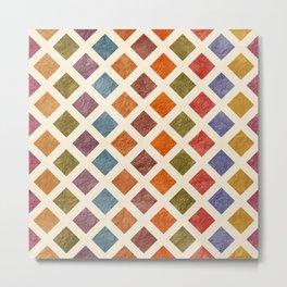 Colorful Texturised Rhombus Pattern Metal Print