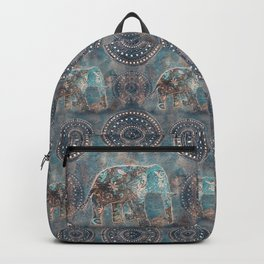 Elephant Ethnic Style Pattern Teal and Copper Backpack