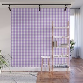 Lilac and White Gingham Check Wall Mural