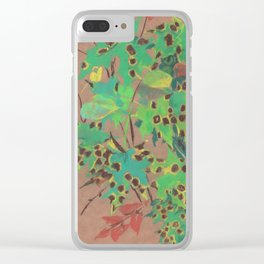 Dotty leaves, fall floral, pastel drawing, life sketch, nature art Clear iPhone Case