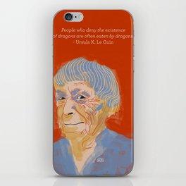 Ursula K. Le Guin portrait + quote iPhone Skin