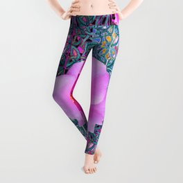 AQUA PINK ROSES & ORCHIDS GREEN-BLACK ART Leggings