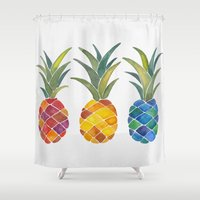 pineapples Shower Curtains featuring Pineapples by Cat Coquillette