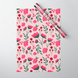 Pink Poppies Seamless Illustration Wrapping Paper
