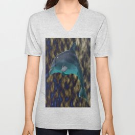 Bowing in shades of blue and gold Unisex V-Neck