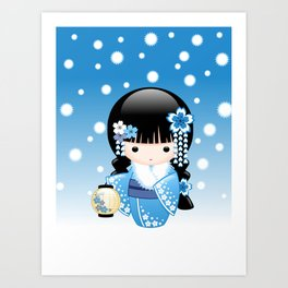 Japanese Winter Kokeshi Doll Art Print
