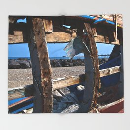 OLD WRECK of GIARDINI NAXOS at SICILY - SICILIA BEDDA Throw Blanket