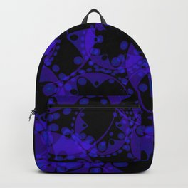 Abstract pattern of purple tentacles and bubbles on a black background. Backpack