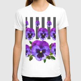 WHITE LILAC & PURPLE PANSY FLOWERS ART T-shirt