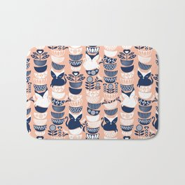 Swedish folk cats V // flesh background Bath Mat